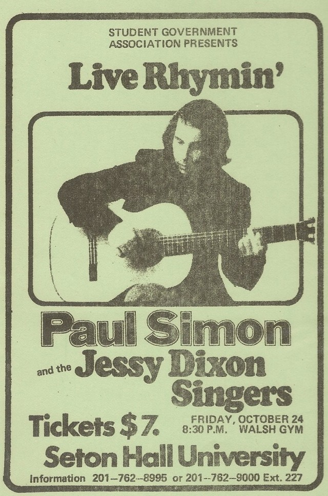 Paul Simon advert - Seton Hall 10-24-75