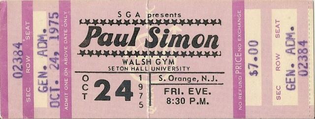 Paul Simon - Seton Hall 10-24-75