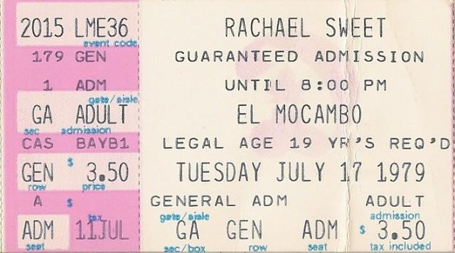 Rachel Sweet - El Mocambo - 7-17-79