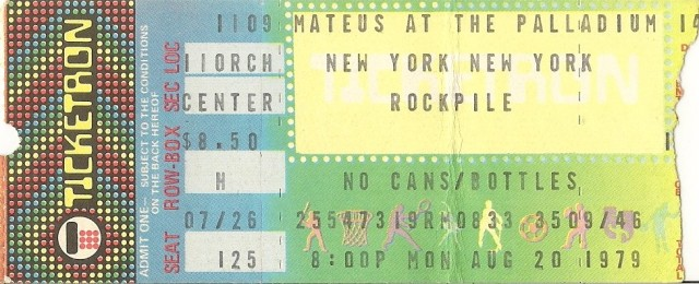 Rockplile - Paladium 8-20-79 Ticket