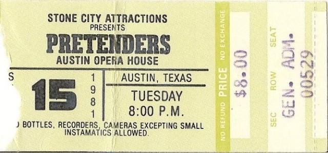 The Pretenders - Austin Opera House - 9-15-81