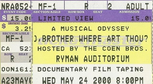 O Brother Where Art Thou - Ryman - 5-24-2000