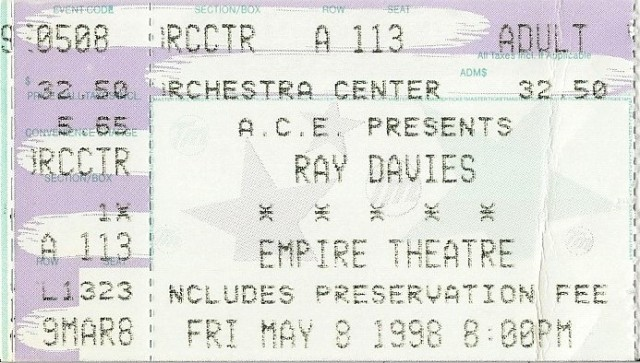 Ray Davies - Empire Theatre - 5-8-98