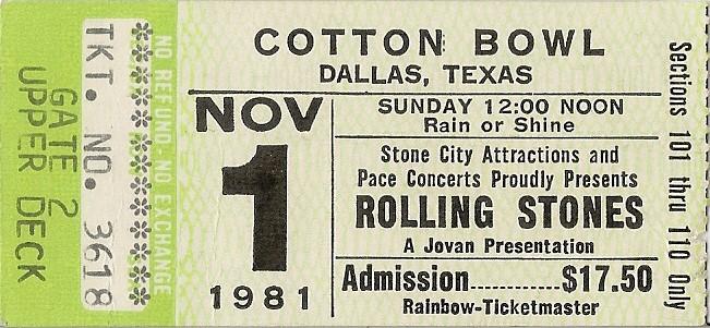CLASSIC CONCERT The Rolling Stones Cotton Bowl Dallas TX