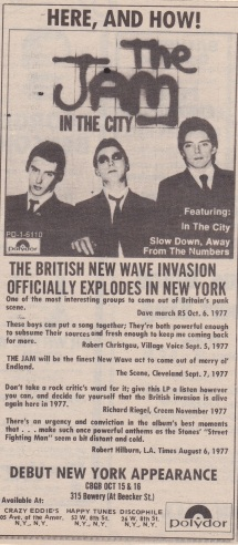 The Jam CGBG - Record Advert