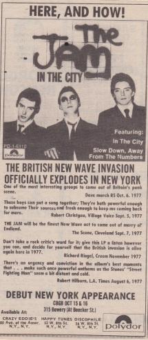 The Jam CGBG - Record Advert