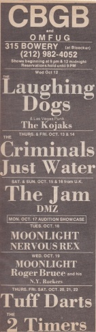 The Jam CGBG - Venue Advert